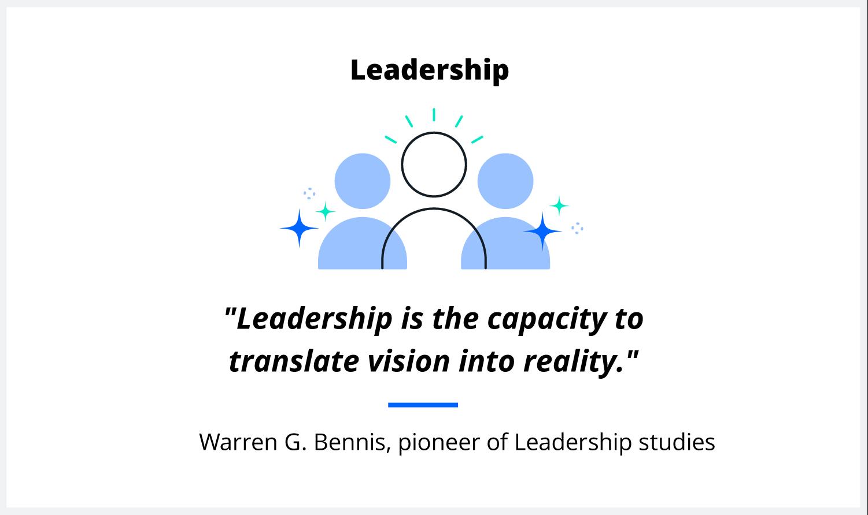 A quote on leadership from scholar Warren G. Bennis