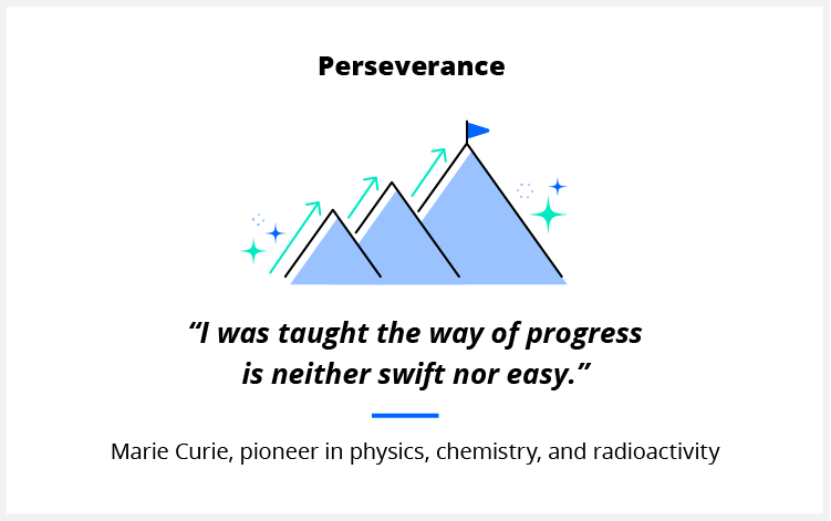 A quote on perseverance from scientist Marie Curie