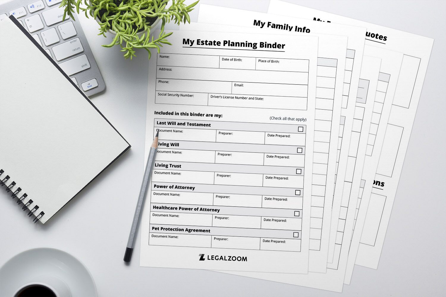 Mockup of estate planning papers