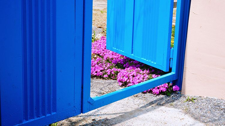 Blue outdoor gate ajar