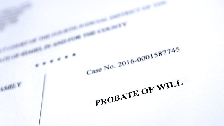 Probate of will document