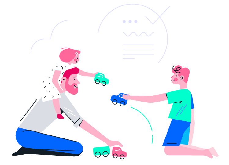 Father playing with children and toy cars illustration