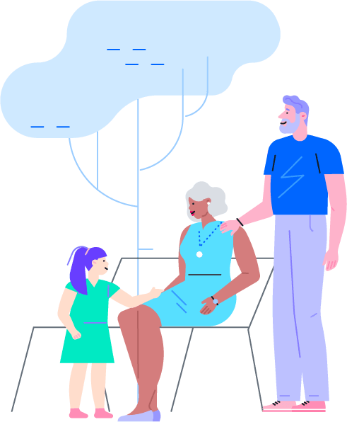 Illustration of family generations for LegalZoom UK wills
